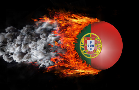 portugese: Concept of speed - Portugal Flag with a trail of fire and smoke