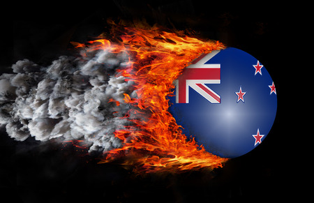 new zealand flag: Concept of speed - New Zealand Flag with a trail of fire and smoke