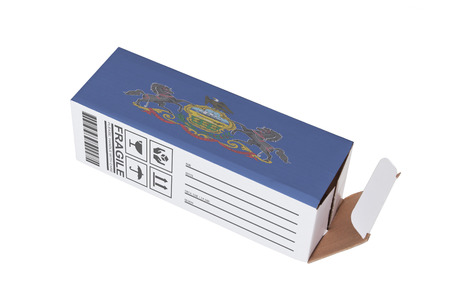adress: Concept of export, opened paper box - Product of Pennsylvania Stock Photo