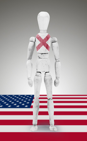 bodypaint: Old wood figure mannequin with US state flag bodypaint - Alabama