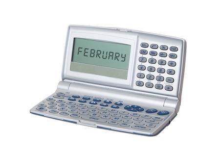 electronic organiser: Electronic personal organiser isolated on white background - Februari Stock Photo