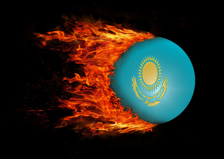 trail: Concept of speed - Kazakhstan Flag with a trail of fire