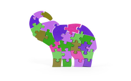 back link: Colorful puzzle pieces in elephant shape - isolated over white