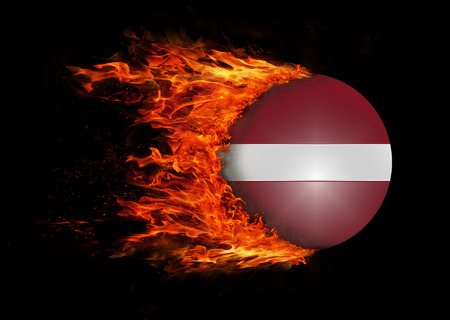 trail: Concept of speed - Latvia Flag with a trail of fire