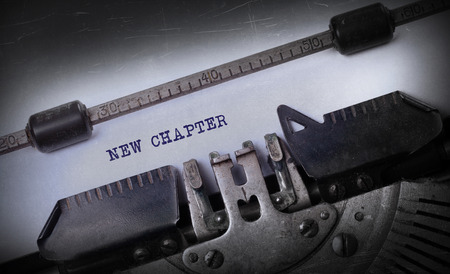 chapter: Vintage inscription made by old typewriter, New chapter Stock Photo