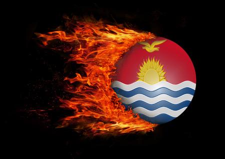 kiribati: Concept of speed - Flag with a trail of fire - Kiribati Stock Photo