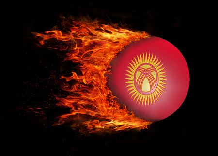 Concept of speed - Flag with a trail of fire - Kyrgyzstan