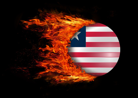 Concept of speed - Flag with a trail of fire - Liberia photo