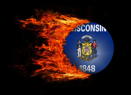 wisconsin flag: Wisconsin state flag with a trail of fire