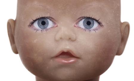 ungeliebt: Scary Puppe Gesicht mit menschlichen Augen suchen Lizenzfreie Bilder