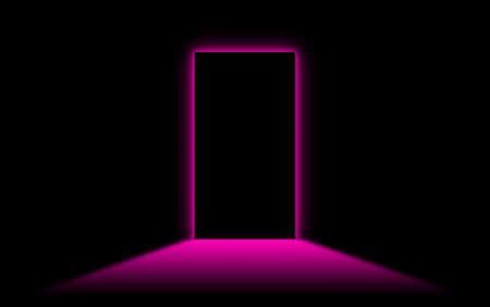 neonlight: Black door with bright neonlight at the other side - Pink Stock Photo