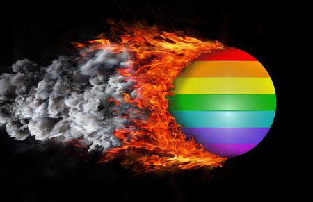 rainbow flag: Rainbow flag with a trail of fire and smoke