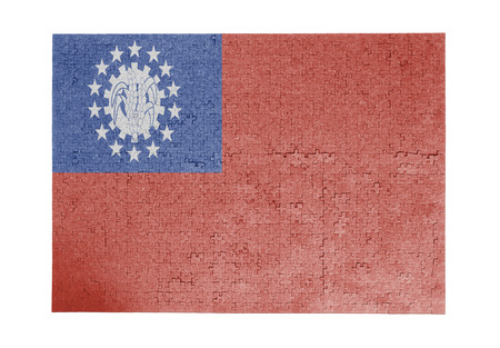 linkages: Large jigsaw puzzle of 1000 pieces Myanmar flag Stock Photo