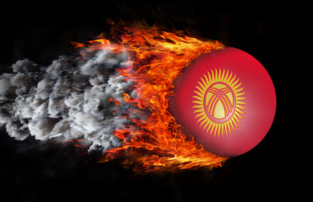 trail: Kyrgyzstan Flag with a trail of fire and smoke Stock Photo