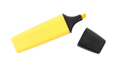 Surligneur jaune isolé sur un fond blanc Banque d'images
