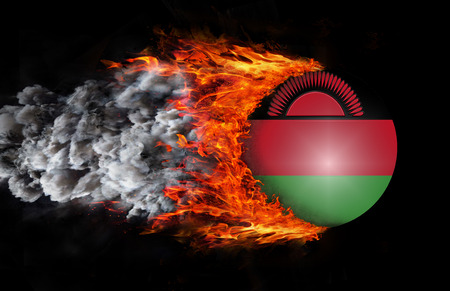 malawi flag: Malawi Flag with a trail of fire and smoke
