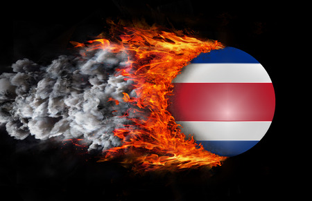 trail: Costa Rica Flag with a trail of fire and smoke