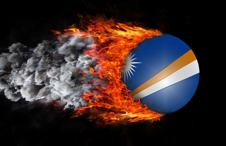 trail: Marshall Islands Flag with a trail of fire and smoke