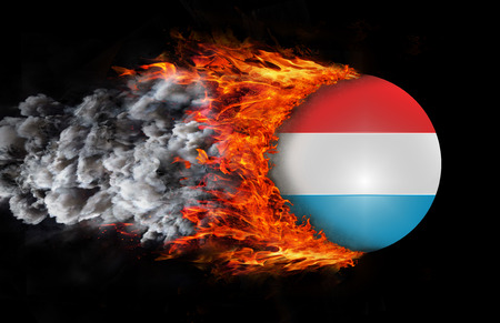 trail: Luxembourg Flag with a trail of fire and smoke