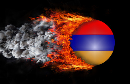 trail: Armenia Flag with a trail of fire and smoke  Stock Photo