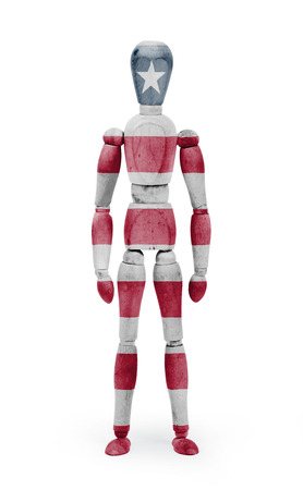 bodypaint: Wood figure mannequin with Liberia flag bodypaint on white background