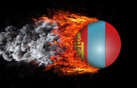 trail: Mongolia Flag with a trail of fire and smoke