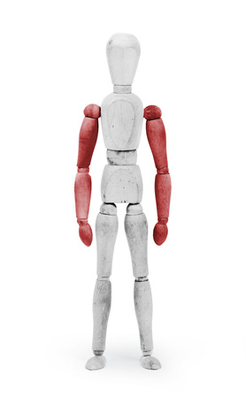 jointed: Wood figure mannequin with Peru flag bodypaint on white background