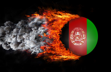 afghan flag: Afghanistan Flag with a trail of fire and smoke -