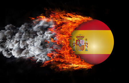 trail: Spain Flag with a trail of fire and smoke Stock Photo