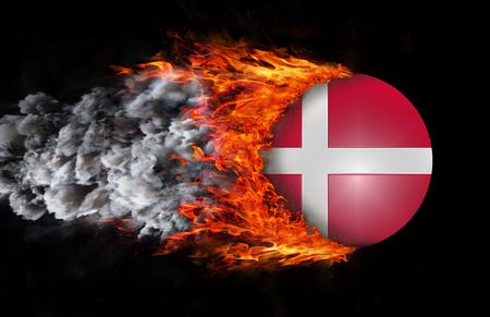 denmark flag: Denmark Flag with a trail of fire and smoke Stock Photo