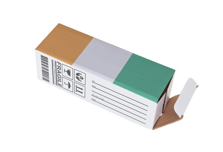 oversea: Concept of export, opened paper box - Product of Ivory Coast