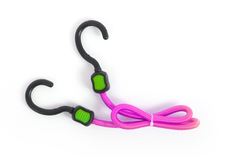 braided flexible: Black hook with elastic rope on a white background