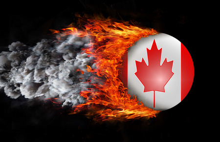 canadian state flag: Canada Flag with a trail of fire and smoke