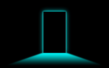 intro: Black door with bright blue neonlight at the other side
