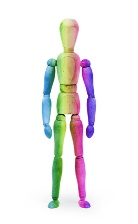 bodypaint: Wood figure mannequin with Multi colored bodypaint on white background