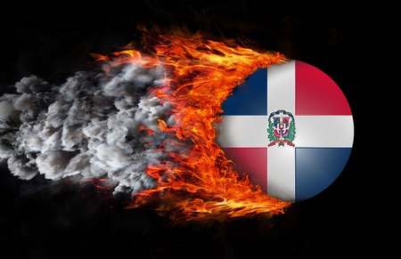 dominican: Dominican Republic Flag with a trail of fire and smoke