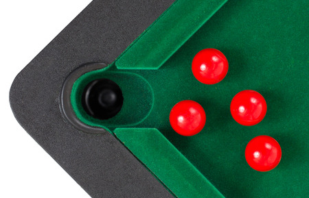 snooker balls: Red snooker balls on a snooker table