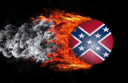 confederation: Confederate flag with a trail of fire and smoke  Stock Photo
