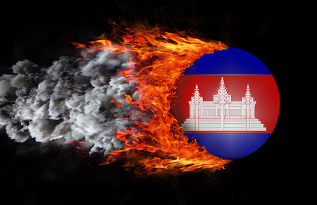 cambodian flag: Cambodia Flag with a trail of fire and smoke