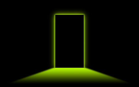 go forward: Black door with bright neonlight at the other side - Green