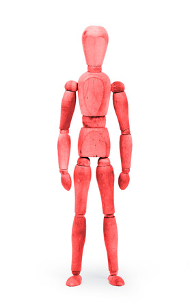 bodypaint: Wood figure mannequin with bodypaint on white background - Red Stock Photo