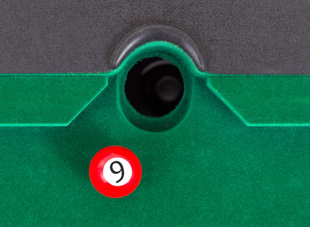 9 ball: Red snooker ball is going to fall - number 9
