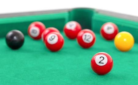 snooker table: Snooker balls on a green snooker table