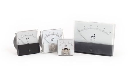 ampere: Old meters isolated on the white background
