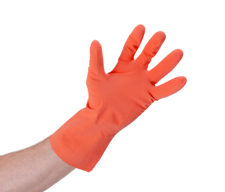 latex glove: Latex glove for cleaning on hand - isolated on white