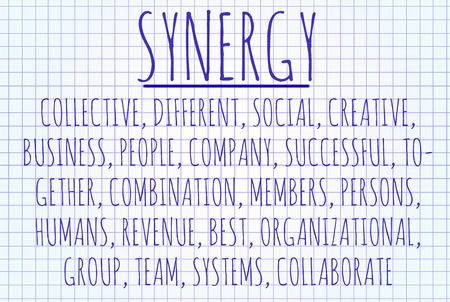 sinergia: Sinergia nube de la palabra escrita en una hoja de papel