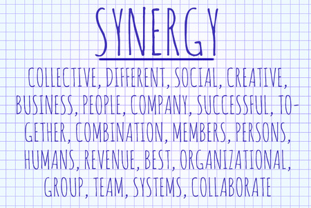 teambuilding: Synergy word cloud written on a piece of paper