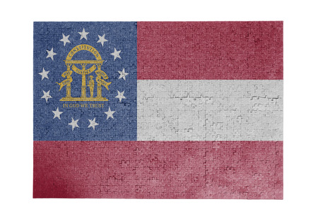 linkages: Large jigsaw puzzle of 1000 pieces Georgia flag Stock Photo