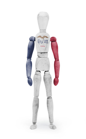 iowa: Old wood figure mannequin with US Iowa state flag bodypaint
