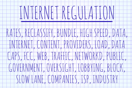 Internet regulation word cloud written on a piece of paper